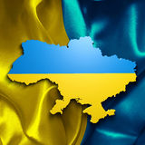 Ukraine map. Over a flag Stock Image