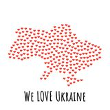 Ukraine Map with red hearts - symbol of love. abstract background. Ukraine Map with red hearts- symbol of love. abstract background with text We Love Ukraine Stock Photo