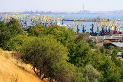 Ukraine.  Mariupol. Ukraine. Beautiful view from above to the seaport and the city of Mariupol located on the coast of the Azov Sea on a fall day Stock Photos