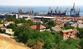 Ukraine.  Mariupol on the coast of the Azov Sea. Ukraine.  View from above to the seaport and the city of Mariupol located on the coast of the Azov Sea on a fall Stock Photo