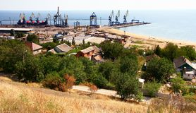 Ukraine.  Mariupol on the coast of the Azov Sea. Ukraine.  View from above to the seaport and the city of Mariupol located on the coast of the Azov Sea on a fall Royalty Free Stock Photography