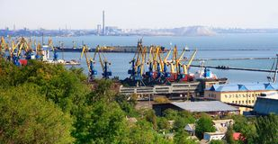 Ukraine.  Mariupol on the coast of the Azov Sea. Ukraine.  View from above to the seaport and the city of Mariupol located on the coast of the Azov Sea on a fall Stock Image