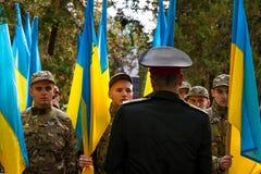 Ukraine markiert den Tag des Verteidigers des Vaterlands Stockfotografie