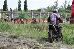 Ukraine, Melitopol 05.13.2018: First in Ukraine championship on enduro cross. Aggressive style of driving Royalty Free Stock Images