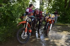 Ukraine, Melitopol 05.13.2018: First in Ukraine championship on enduro cross. Aggressive style of driving Royalty Free Stock Photography