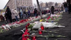 Ukraine in mourning. 27.02.2014. Kiev, Ukraine, Independence Square stock video footage