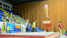 Ukraine Nation CUP (Stella Zakharova Cup) 2015, Kiev, Ukraine. KIEV - MAY: Ukraine Nation CUP Stella Zakharova Cup 2015, International sport gymnastics stock footage