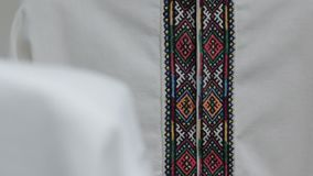 The embroidery shirt. The Ukraine national embroidered clothes shirt stock video footage