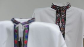 The embroidery shirts. The Ukraine national embroidered clothes shirt stock footage