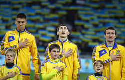 Ukraine National football team players listen the national anthe Stock Images