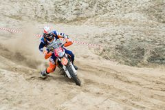 Ukraine, Novgorod-Seversky - September 30, 2017: Rally, enduro motorcycle race on the sandy road, near Novgorod-Seversky stock photography