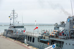 Ukraine, Odesa - März, 18, 2017: In den Odessa-Hafenmilitärschiffen Stockfotografie