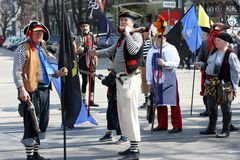 Ukraine, Odessa - April 1, 2019, a costume parade dedicated to the Day of Laughter and Humor. Humorina People in pirate costumes stock images