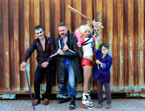 UKRAINE, ODESSA - August 13, 2016: Cosplayers in Harley Quinn costume, in Joker and Boomerang costumes Stock Photography