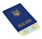 Ukraine Passport. And ticket on white background Royalty Free Stock Images