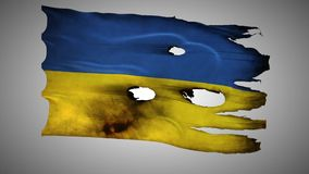 Ukraine perforated, burned, grunge waving flag loop alpha. Ukraine, UA, bullet perforated, burned, grunge standard flag waving on a wind with alpha loop seamless stock video