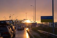UKRAINE - POLAND BORDER, 25,09,2017, Budomierz - Hruszow, the. Queue of cars at the border stock photo