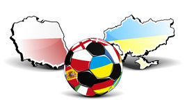 Ukraine Poland Football. Maps of poland and ukraine with a football in front, european football championship 2012 Stock Photo