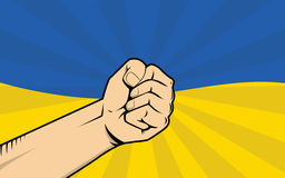 Ukraine protest illustration with single hand strong fist Royalty Free Stock Image