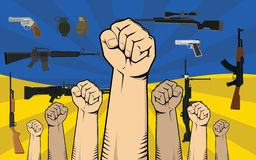 Ukraine protest illustration with single hand strong fist Royalty Free Stock Photo