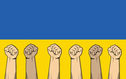 Ukraine protest illustration with single hand strong fist Royalty Free Stock Images