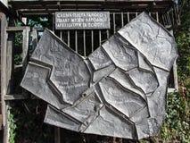 Ukraine, Pyrohiv Kiew - 17. September 2017: Gestaltet vom Stein-` Entwurf des allgemeinen Planes des Museums von Völkern Archite lizenzfreies stockbild