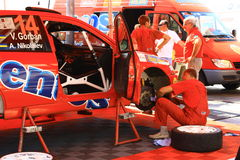 Ukraine. Rally Prime Yalta Rally 2012. YALTA, UKRAINE - SEPTEMBER 14, 2012: V.Gorban and A.Nikolaiev from Ukraine prepares Ralliart Mitsubishi Lancer Evolution Stock Photos