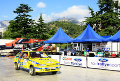 Ukraine. Rally Prime Yalta Rally 2012. YALTA, UKRAINE - SEPTEMBER 15, 2012: Team riders Dimov and Vartanyan of Ukraine Prime Yalta Rally on September 15, 2012 in Royalty Free Stock Photos