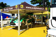 Ukraine. Rally Prime Yalta Rally 2012. YALTA, UKRAINE - SEPTEMBER 14, 2012: team riders Y. Protasov and K.Nesvit from Ukraine prepares Ford Fiesta RRC to attend Royalty Free Stock Images
