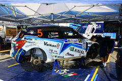 Ukraine. Rally Prime Yalta Rally 2012. YALTA, UKRAINE - SEPTEMBER 14, 2012: team reader Laszlo Vizin and Gabor Zsiros are preparing Skoda Fabia S2000 to Prime Royalty Free Stock Image
