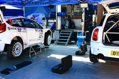 Ukraine. Rally Prime Yalta Rally 2012. YALTA, UKRAINE - SEPTEMBER 14, 2012: team riders  M.Pajunen and  K.Lindstrom from Finland prepares Ford Fiesta S2000 to Stock Photos