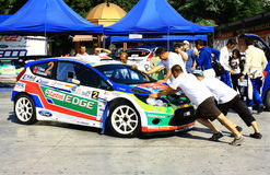 Ukraine. Rally Prime Yalta Rally 2012. YALTA, UKRAINE - SEPTEMBER 14, 2012: team rider Y.Avci and B.Gucenmez from Turkey prepared Ford Fiesta S2000 to Prime Stock Images