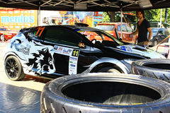 Ukraine. Rally Prime Yalta Rally 2012. YALTA, UKRAINE - SEPTEMBER 14, 2012: team rider R. Consani and N.Klinger are preparing Renault MEGANE RS to Prime Yalta Stock Image