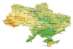 Ukraine relief map. Highly detailed physical map of Ukraine,in vector format,with all the relief forms,regions and big cities Royalty Free Stock Image