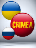 Ukraine and Russia conflict for Crimea Icon Royalty Free Stock Images