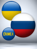 Ukraine and Russia conflict for Crimea Icon Stock Image