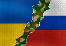 Ukraine and Russia Flag - conflict concept Stock Photo