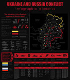 Ukraine and Russia military conflict infographic template. Situa. Tion in the eastern region of Ukraine map.Statistical data of military imbalance. Constructor Stock Photo