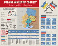 Ukraine and Russia military conflict infographic template. Situa. Tion in the eastern region of Ukraine map.Statistical data of military imbalance. Constructor Royalty Free Stock Images