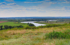 Ukraine and russia river and bridge landscape Royalty Free Stock Image