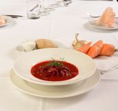 Ukraine and russian traditional soup, borsch, served at restaurant. Stock Image