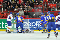 Ukraine's hockey team scores a goal Stock Photos