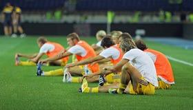 Ukraine - Schweden teams Fußbalabgleichung Stockfotos