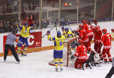Ukraine scored against Poland Stock Photo