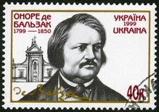 UKRAINE - 1999: shows Honore de Balzac 1799 -1850, French novelist. UKRAINE - CIRCA 1999: A stamp printed in Ukraine shows Honore de Balzac 1799 -1850, French Royalty Free Stock Photo