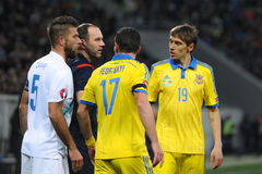 Ukraine - Slovenia. UEFA EURO 2016 play-off Royalty Free Stock Photos