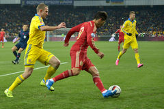 Ukraine and Spain. Euro 2016 qualifying. Stock Photography