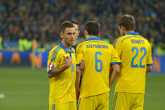 Ukraine and Spain. Euro 2016 qualifying. Royalty Free Stock Images