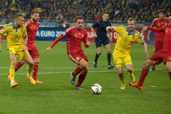 Ukraine and Spain. Euro 2016 qualifying. Royalty Free Stock Photos