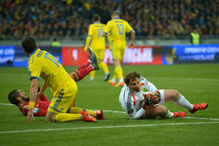 Ukraine and Spain national football teams are playing against each other Royalty Free Stock Image